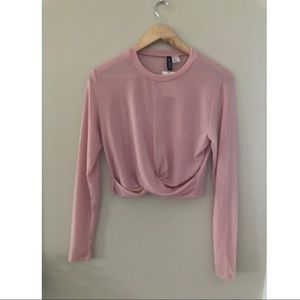 Long Sleeve Pink Glitter Crop - H&M